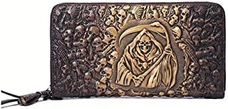 Men's and Women's Fashion Leather Taro Long Wallet Clutch Candys house (Color : Gold, Size : 21.5 * 11 * 2.5cm)