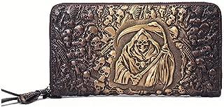 SGJFZD Men's and Women's Fashionable Leather Taro Long Wallet Clutch (Color : Gold, Size : 21.5 * 11 * 2.5cm)