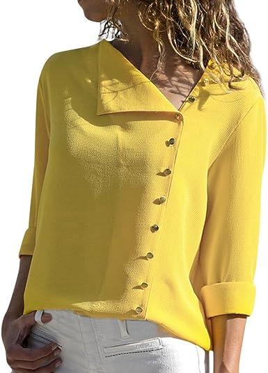 Camisa de Manga Larga con Cuello de Cisne Irregular Irregular para Mujer Camiseta de Manga Larga para Mujer Camiseta de Manga Larga riou