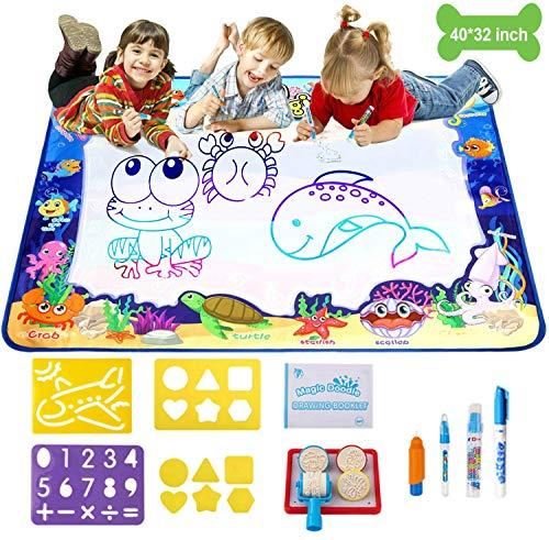HomeChi Pizarrones Magicos para Niños, Alfombrilla de pintura de agua de 40 'x 32' Alfombrilla de dibujo para colorear grande Tablero de escritura de graffiti...