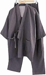 Japanese Traditional Pajama 2Pcs/Set Male Sleepwear Loungewear Men Robe Gown Striped 5XL Loose Cotton