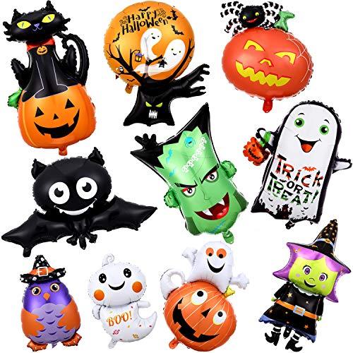 10 Piezas Globos de Halloween Globos de Papel de Aluminio de Mylar de Halloween Globo de Calabaza Bruja Esqueleto Fantasma Murciélago para Decoraciones de Fiesta de Halloween