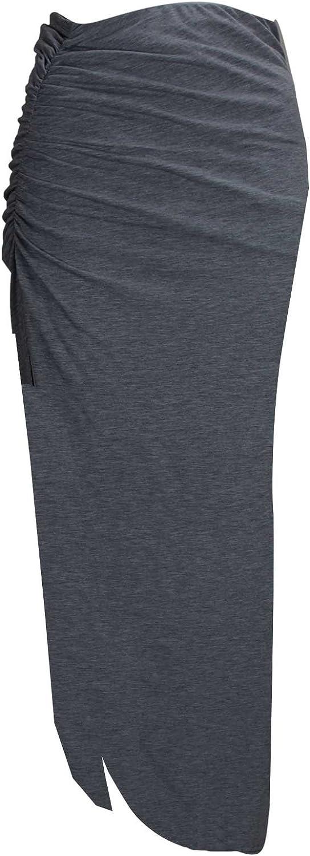 Baleza Women's Jersey Long Gipsy Gather Side Cut Out Maxi Skirt M/L 12-14 Charcoal