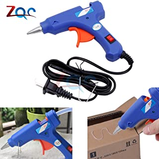 20W Mini calefacción eléctrica Pistola de pegamento de fusión en caliente Calentador de alta temperatura Herramienta de reparación de fusión Pistola de calor Mini pistola azul Enchufe de EE. UU.