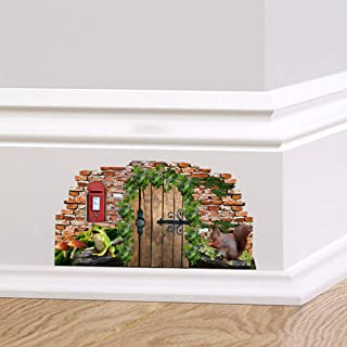 Full Colour Woodland Fairy Pixie Door Skirting Board Wall Sticker Decal Home D?cor Quirky Mural Squirrel Post Box Frog