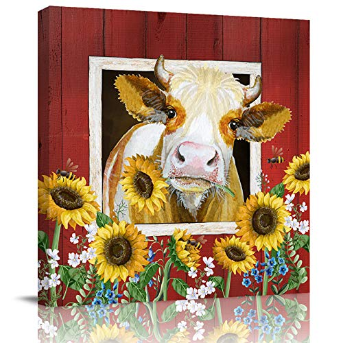 Gredice Farmhouse Cow and Sunflower Canvas Print Wall Art Oil Paintings Farm Animal on Red Wood Barn Picture Prints Artwork for Kitchen Bathroom Bedroom Stretched and Framed Ready to Hang  12x12in