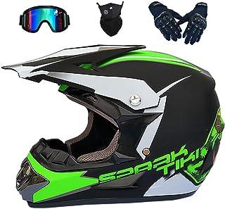 Motocross Helm Kinder Set de 5 bis 14 Jahre mit Schutzbrille, Fullface Offroad Motorradhelm für Adult, Elektrischem Dirtbike DH BMX MTB ATV Crash Helm für Jungen und Mädchen - Grün,M