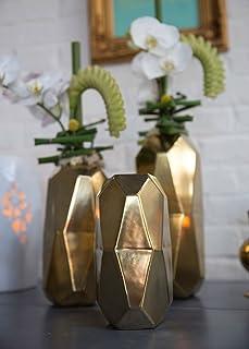 "Afloral Gold Ceramic Geometric Cylinder Vase - 6"" Tall"