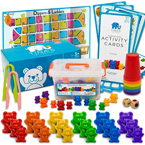 Counting Bears Color Sorting Toys for Toddlers Stacking Cups, Fine Motor Skills Toys, Occupational Therapy Speech Therapy Toys, Homeschool Preschool Learning Math Manipulatives Toddler Learning Toy