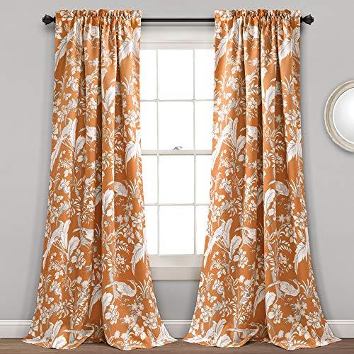 "Lush Decor, Orange Curtains Dolores Darkening Window Panel Set for Living, Dining Room, Bedroom (Pair), 84"" x 52"""