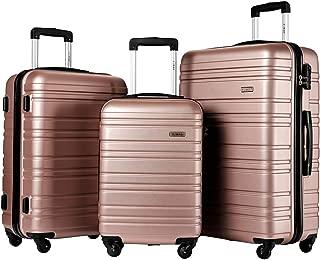 Luggage Set 3 Piece Set Suitcase set Spinner Hard shell Lightweight (Rose gold)