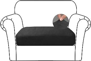 Caijin Funda para Asientos de Sofá, Protector de Funda de Asiento de sofá elástico, Tejido de Terciopelo Suave Premium (1 Asiento, Negro)