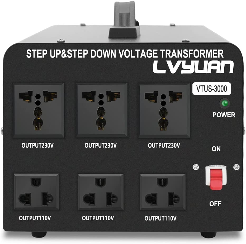 Yinleader Voltage Converter Transformer(220V to 110V, 110V to 220V) Step Up/Down Converter 110/120 Volt - 220/240 Volt VTF3000w-black
