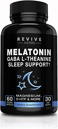 Melatonin, GABA, L-Theanine - Sleep and Relaxation Support 60 Veggies Capsules - Also Includes Magnesium, 5-HTP, Phellodendron Root Powder & Mucuna Pruriens