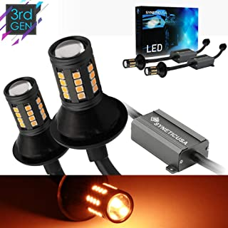 Error Free Canbus Ready Yellow/Amber LED Front/Rear Turn Signal Light Bulbs DRL Parking Lamp No Hyper Flash All in One With Built-In Resistors (3157)