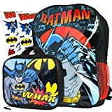 Batman Backpack and Lunch Box Set for Kids ~ Deluxe 16' Batman Backpack with Insulated Lunch Bag and Stickers (Batman School Supplies Bundle)