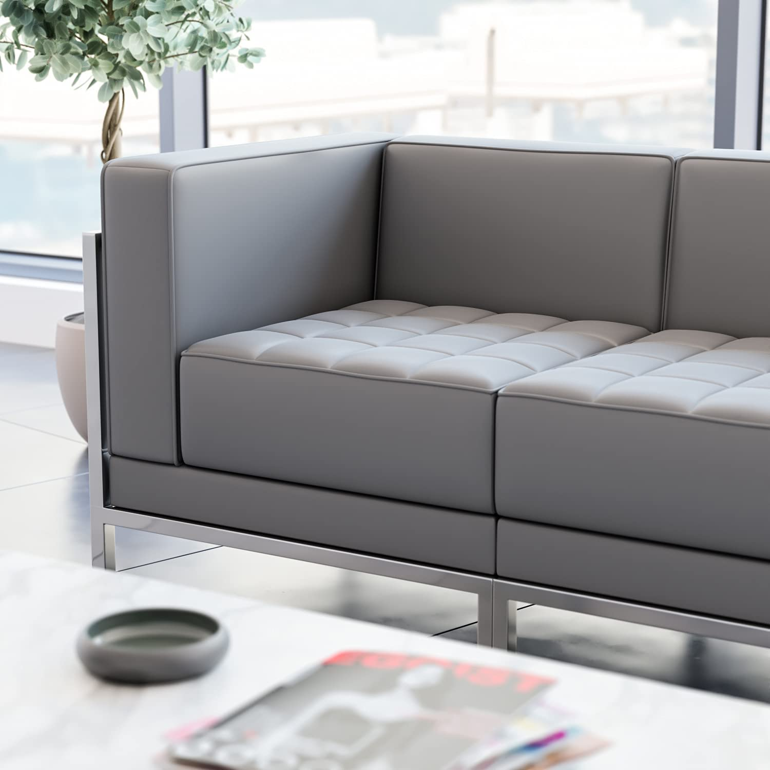 Flash Furniture Hercules Imagination Series Contemporary Gray Leathersoft Left Corner Chair with Encasing Frame