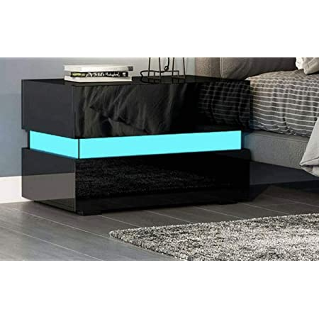 2 Drawer Nightstand Modern LED Light 2 Drawer High Gloss Bedside Nightstand(Black)