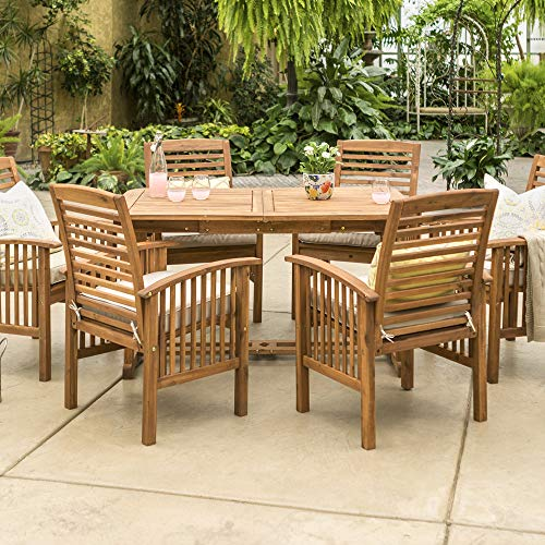 Walker Edison Maui Modern 7 Piece Outdoor Dining Table and Slat Back Chair Set, Set of 7, Brown