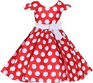 Little Girls Cap Sleeves Polka Dot Flowers Girl Brithday Party Dress