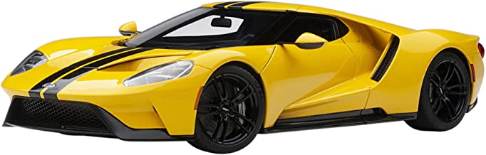 2017 Ford GT Triple Yellow with Black Stripes 1/18 Model Car by Autoart 72944