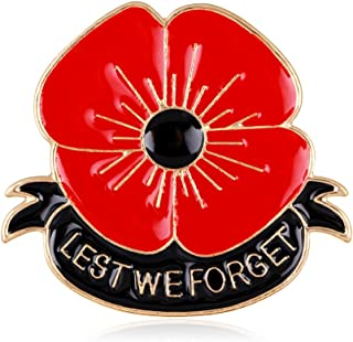 Red Lest We Forget Poppy Brooch Pins Broach For Hero Soldier Remembrance day Gifts