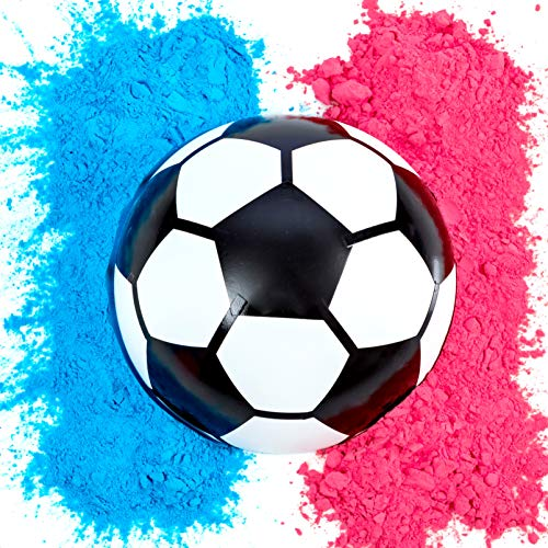 Gender Reveal Balón de fútbol | Kit de polvo azul y rosa | Suministros de fiesta revelación de género | Últimos suministros para...