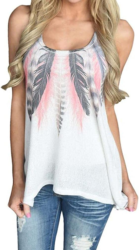 TOPUNDER Feather Print Sleeveless Tank Top for Women Racerback Loose Boatneck Vest Blouse
