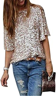 Wpch Fashion Women Gold Sequins Sexy Off Shoulder Short Sleeve Loose Casual Slim T-Shirt Tops Glitter Sparkle T-Shirt Gold S