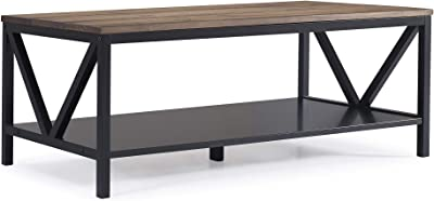 Walker Edison Distressed Farmhouse Coffee Table, Black