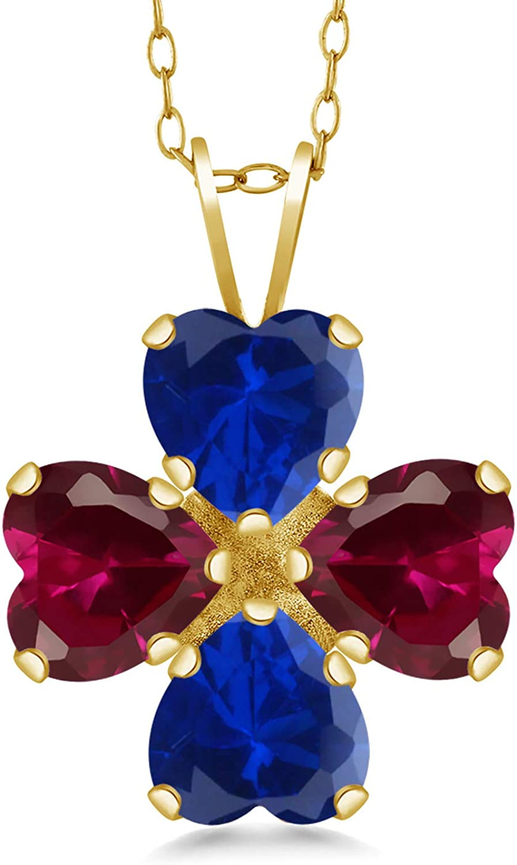 Gem Stone King Philadelphia Mall 3.52 Ct Created Sapphire Ruby Blue Choice 18K