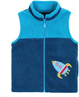 HUAER& Baby Boy and Girl Fleece Zipper Embroidery Pattern Vest