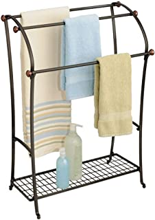 mDesign Large Freestanding Towel Rack Holder with Storage Shelf - 3 Tier Metal Organizer for Bath & Hand Towels, Washcloths, Bathroom Accessories - Bronze/Warm Brown