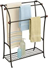 mDesign Large Freestanding Towel Rack Holder with Storage Shelf - 3 Tier Metal Organizer for Bath & Hand Towels, Washcloths, Bathroom Accessories - Bronze/Warm Brown
