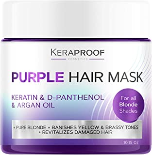 Purple Hair Mask - Shampoo Toner for Blond & Grey Hair after Bleach Dye - Silver, Blonde & Colored Hair Treatment with Ker...