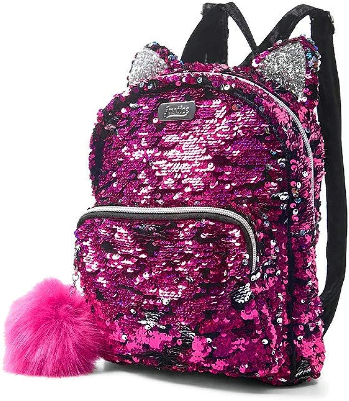Justice Flip Sequin Kitty Mini Backpack Black