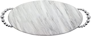 MARIPOSA Pearled Long Oval Marble Platter, Grey