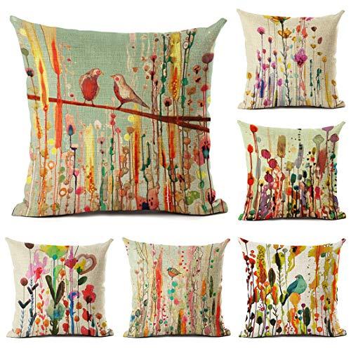 Tebery - Juego de 6 fundas de cojín decorativas de lino y algodón, diseño de pájaros y flores, 45,7 x 45,7 cm