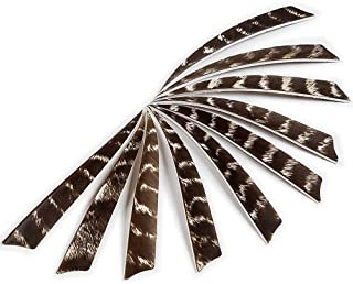 PG1ARCHERY 5 Inch Turkey Feathers Fletching Shield Shape Left Wing Fletched for DIY Archery Target Arrow Crossbow Bolts 30pcs