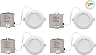 YAY LED 4'' Ultra-Thin Recessed Ceiling Light with Junction Box, Dimmable Downlight, ETL & Energy Star - IC-Rated - 10W - 900 Lumens Color Temperature Selectable - 3 in 1 (3000K/4000K/5000K) 4 Pack