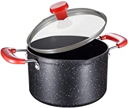 Black Milk Pan,Nonstick Saucepan with Glass Lid Induction Bottom Multipurpose Use for Home Noodles Small Skillet