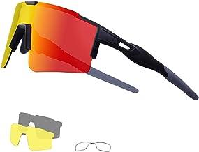 DUDUKING Fietsbril Gepolariseerde Zonnebril met 3 Verwisselbare bril UV400 Bescherming voor Mannen en Vrouwen, voor Fietse...