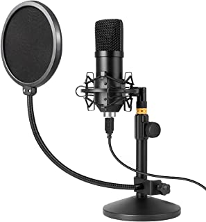 USB Microphone Kit 192kHz/24bit MAYOGA Condenser Podcast Streaming Cardioid Mic Kit with Sound Card Desktop Stand Shock Mount Pop Filter, Plug & Play for Skype, YouTube, Gaming, Studio Recording
