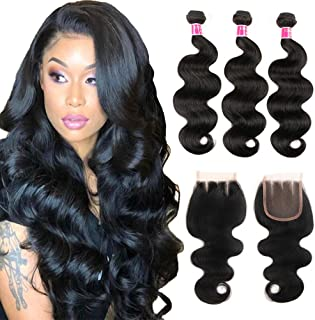 Brazilian Body Wave Bundles with Closure (14 16 18+12 closure) 8A Unprocessed Virgin Body Wave Human Hair with Closure 3 Bundles with 4x4 Closure Three Part