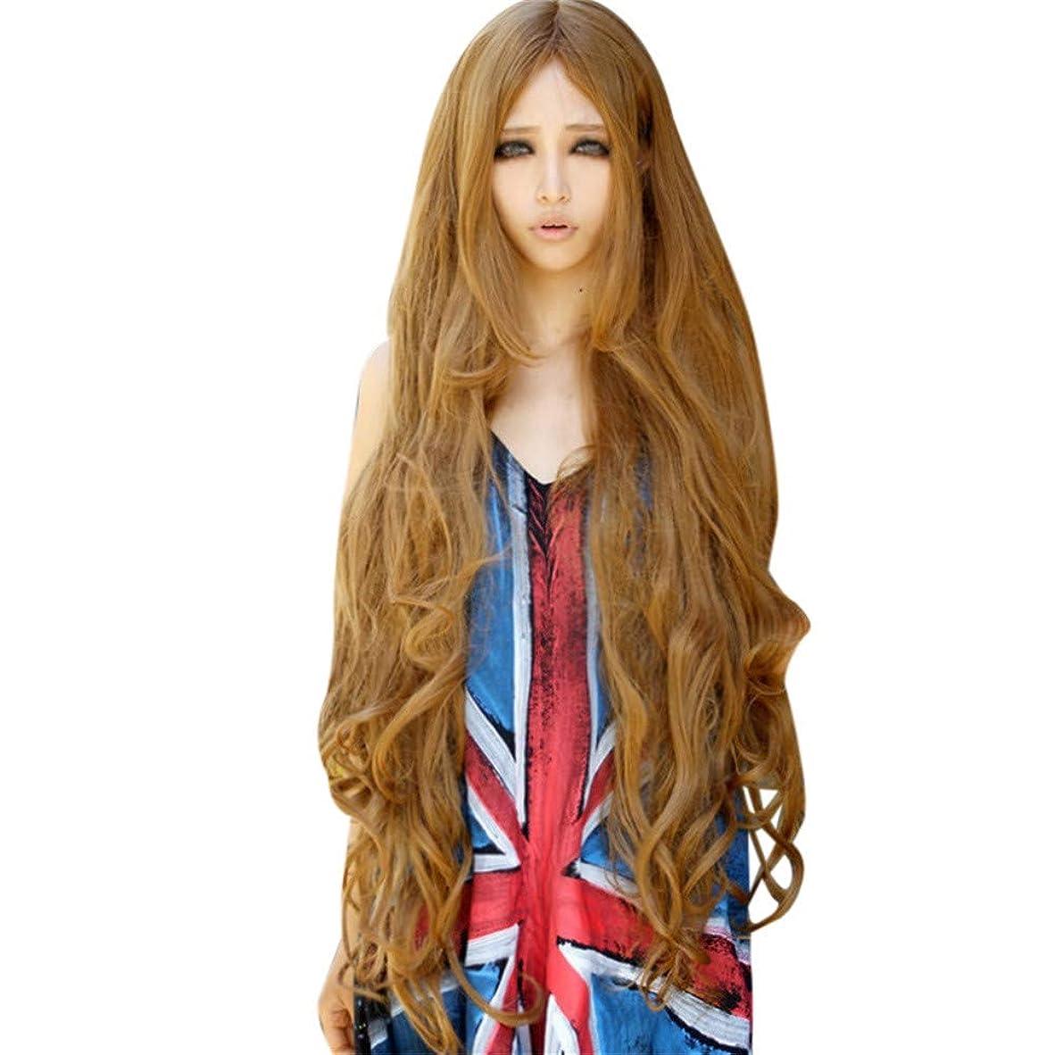 樫の木スラム不純かつらゴールド長い巻き毛ナチュラルかつらファッションパーティーかつら100CM