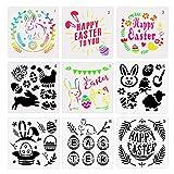 ZERHOK 9 pz Modelli di stampini pasquali Coniglietto in plastica Disegno Pittura Stencil Modello Buona Pasqua Art Craft Disegno per Pasqua Decorazione Fai da Te Kids Party Bag Filler