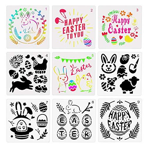 ZERHOK Ostern Schablone, 9 Blättern Ostern Zeichnung Vorlagen Ostern Zeichen Malen Geschenke Osternkarten Fenster Wand Deko für Kinder Ostern Basteln