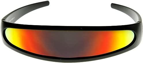 Futuristic Narrow Cyclops Color Mirrored Lens Visor Sunglasses