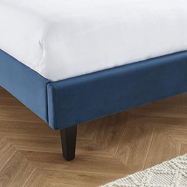 HOMIFAB Lit Adulte scandinave en Velours Bleu Canard, sommier à Lattes, 160x200 - Collection Marie - Elle Deco