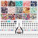 PiedrasNaturales,KitJoyeria,15 colores Kit de cuentas de piedras preciosas irregulares de,para jewelrymaking,Manualidad de Bricolaje Pulseras Aretes Collar